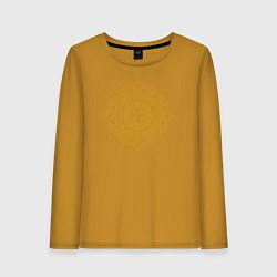 Лонгслив хлопковый женский Золотой цветок цвета горчичный — фото 1