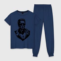 Пижама хлопковая женская Железный Арни цвета тёмно-синий — фото 1