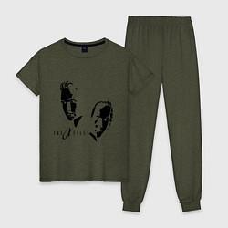 Пижама хлопковая женская Малдер и Скалли цвета меланж-хаки — фото 1