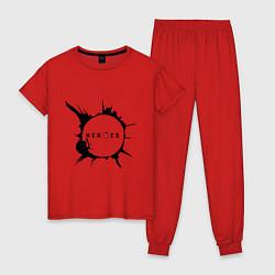 Пижама хлопковая женская Heroes spot цвета красный — фото 1