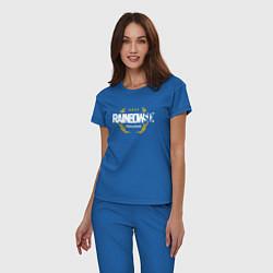 Пижама хлопковая женская Rainbow six | Siege : Pro league (white) цвета синий — фото 2