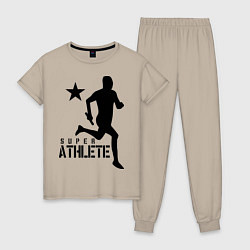 Пижама хлопковая женская Лёгкая атлетика цвета миндальный — фото 1