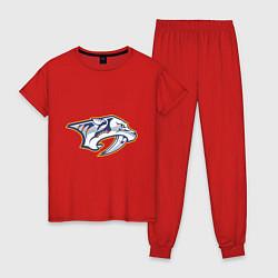 Пижама хлопковая женская Nashville Predators цвета красный — фото 1