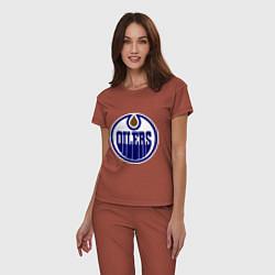 Пижама хлопковая женская Edmonton Oilers цвета кирпичный — фото 2