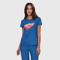 Пижама хлопковая женская Detroit Red Wings цвета синий — фото 2