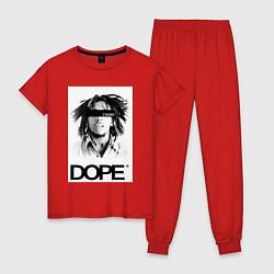 Пижама хлопковая женская Bob Marley Dope цвета красный — фото 1