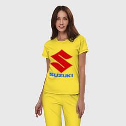 Пижама хлопковая женская Suzuki цвета желтый — фото 2