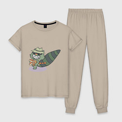Пижама хлопковая женская HTF: Lifty цвета миндальный — фото 1