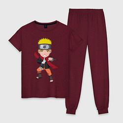 Пижама хлопковая женская Наруто цвета меланж-бордовый — фото 1