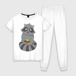 Пижама хлопковая женская Енотик с клубникой цвета белый — фото 1