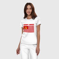 Пижама хлопковая женская Goodbye America цвета белый — фото 2