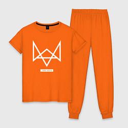 Пижама хлопковая женская Hello world цвета оранжевый — фото 1