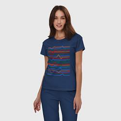 Пижама хлопковая женская Эквалайзер цвета тёмно-синий — фото 2