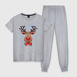 Пижама хлопковая женская Рождественский олень цвета меланж — фото 1