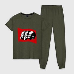Пижама хлопковая женская Маркс, Энгельс, Ленин цвета меланж-хаки — фото 1