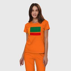 Пижама хлопковая женская Чечня: флаг цвета оранжевый — фото 2