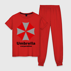 Пижама хлопковая женская Umbrella corporation цвета красный — фото 1