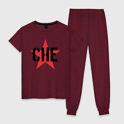 Пижама хлопковая женская Че Гевара - звезда цвета меланж-бордовый — фото 1