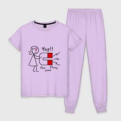 Пижама хлопковая женская Yap: Our love story цвета лаванда — фото 1