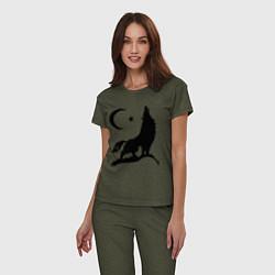 Пижама хлопковая женская Кавказский волк цвета меланж-хаки — фото 2