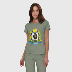 Пижама хлопковая женская Хабаровский край цвета авокадо — фото 2