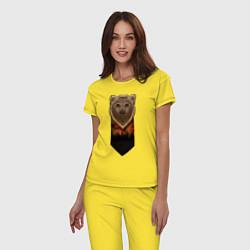 Пижама хлопковая женская Медведь: владыка леса цвета желтый — фото 2