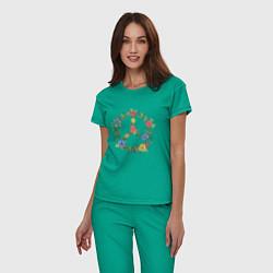 Пижама хлопковая женская Peace flowers цвета зеленый — фото 2