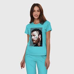 Пижама хлопковая женская Том Харди Ван Гога цвета бирюзовый — фото 2