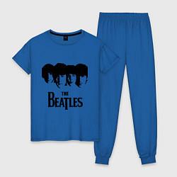 Пижама хлопковая женская The Beatles: Faces цвета синий — фото 1