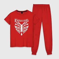 Пижама хлопковая женская Кукрыниксы цвета красный — фото 1