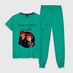 Пижама хлопковая женская TOP Boys цвета зеленый — фото 1