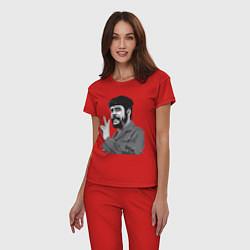 Пижама хлопковая женская Che Guevara: Peace цвета красный — фото 2