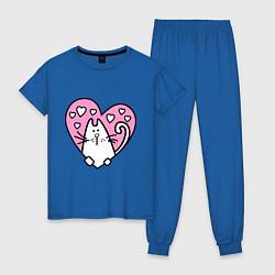 Пижама хлопковая женская Влюбленный котик цвета синий — фото 1