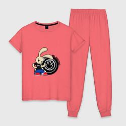 Пижама хлопковая женская Blink-182: Street rabbit цвета коралловый — фото 1