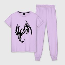 Пижама хлопковая женская Korn bones цвета лаванда — фото 1