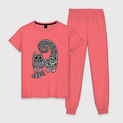 Пижама хлопковая женская Кот3 цвета коралловый — фото 1