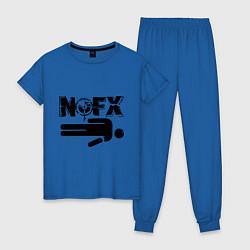 Пижама хлопковая женская NOFX crushman цвета синий — фото 1