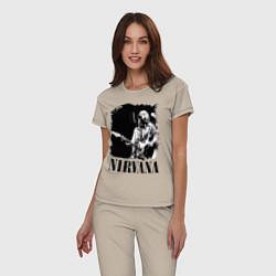 Пижама хлопковая женская Black Nirvana цвета миндальный — фото 2