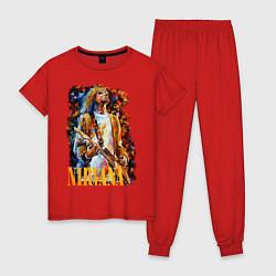 Пижама хлопковая женская Cobain Art цвета красный — фото 1