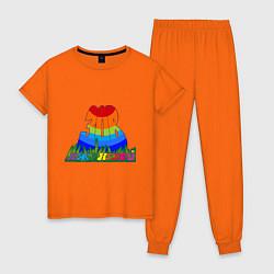Пижама хлопковая женская Зов джунглей цвета оранжевый — фото 1