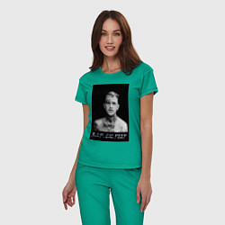 Пижама хлопковая женская RIP Lil Peep цвета зеленый — фото 2