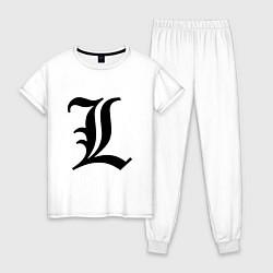 Пижама хлопковая женская L - Death Note цвета белый — фото 1