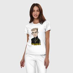 Пижама хлопковая женская Уличный Элджей цвета белый — фото 2