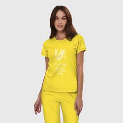 Пижама хлопковая женская Korn: Falling away from me цвета желтый — фото 2