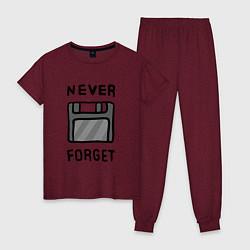 Пижама хлопковая женская Never Forget цвета меланж-бордовый — фото 1