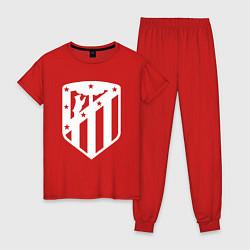 Пижама хлопковая женская FC Atletico Madrid цвета красный — фото 1