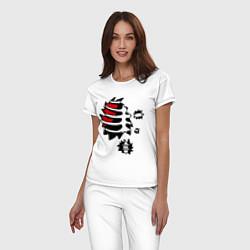 Пижама хлопковая женская Зомби-скелет цвета белый — фото 2