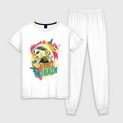 Пижама хлопковая женская Kurt Cobain Paints цвета белый — фото 1