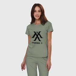 Пижама хлопковая женская Monsta X цвета авокадо — фото 2