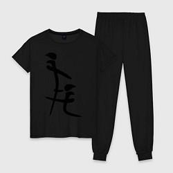 Пижама хлопковая женская Иероглиф: минет цвета черный — фото 1
